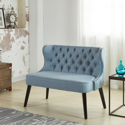 Aguayo Tufted Wing Back Settee Bedroom Bench Upholstery: Light Blue