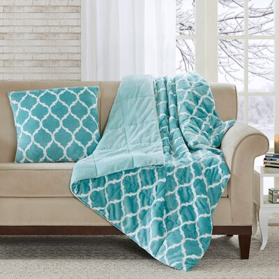Rosalie Oversized Down Alternative Throw Color: Aqua