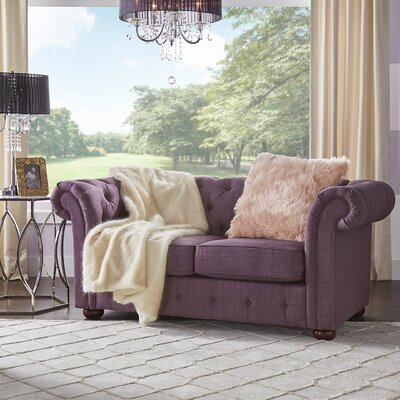 Augustine Tufted Chesterfield Loveseat Upholstery: Purple