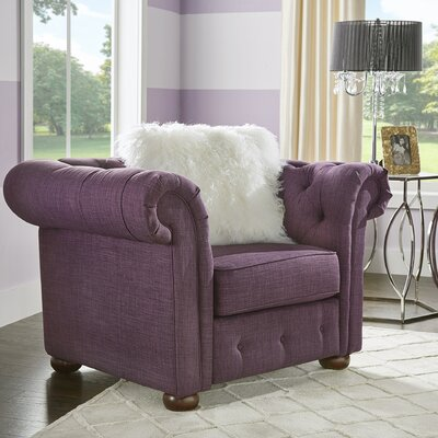 Augustine Tufted Button Arm Chair Upholstery: Purple