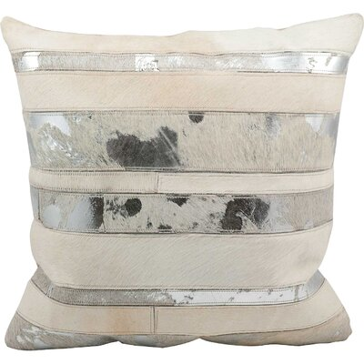 Russet Leather Throw Pillow Color: White/Silver