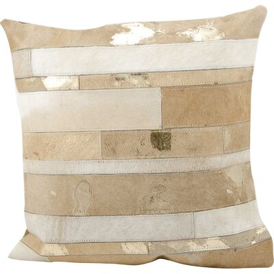 Russet Leather Throw Pillow Color: Beige/Gold