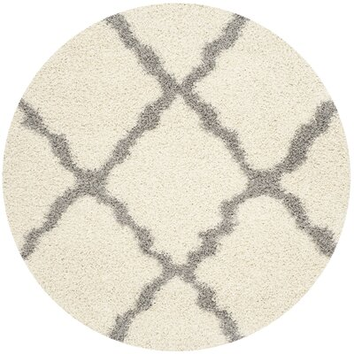 Alice Ivory/Gray Area Rug Rug Size: Round 6