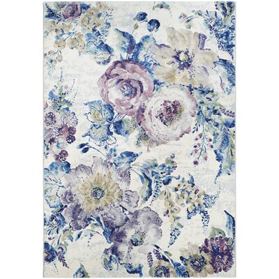Nicole Bone/Ocean Blue Area Rug Rug Size: Rectangle 92 x 125