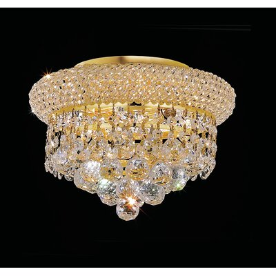 Destanee 3-Light Semi Flush Mount Finish: Gold, Crystal Grade: Spectra Swarovski