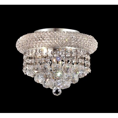 Destanee 3-Light Semi Flush Mount Finish: Chrome, Crystal Grade: Strass Swarovski