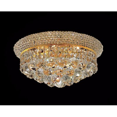 Destanee 6-Light Flush Mount Finish: Gold, Crystal Grade: Royal Cut