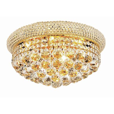 Destanee 8-Light Flush Mount Finish: Gold, Crystal Grade: Elegant Cut