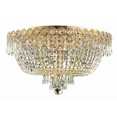 Levitt 6-Light Flush Mount Finish: Gold, Crystal Grade: Elegant Cut