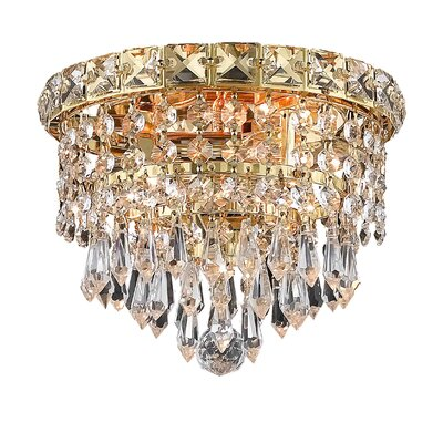 Fulham 2-Light Semi Flush Mount Finish: Gold, Crystal Grade: Chrome / Royal Cut