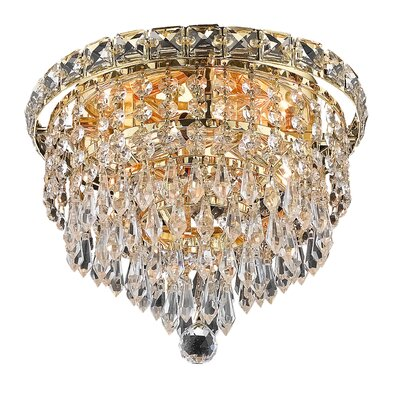 Fulham 4-Light Semi Flush Mount Finish: Gold, Crystal Grade: Chrome / Strass Swarovski