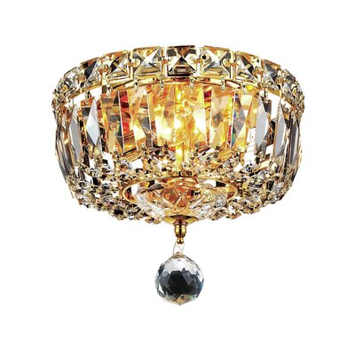 Fulham 2-Light Flush Mount Finish: Gold, Crystal Grade: Chrome / Spectra Swarovski