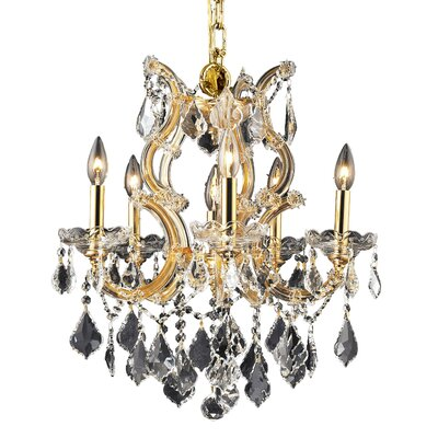 Regina 6-Light Crystal Chandelier Finish / Crystal Color / Crystal Trim: Chrome / Golden Teak (Smoky) / Royal Cut