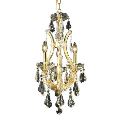 Regina 4-Light Crystal Chandelier Finish / Crystal Color / Crystal Trim: Gold / Golden Teak (Smoky) / Royal Cut