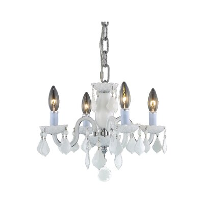 Alba 4-Light Crystal Chandelier Finish / Crystal Color: White / White