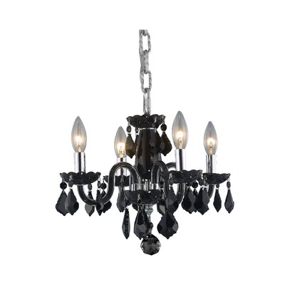 Alba 4-Light Crystal Chandelier Finish / Crystal Color: Black / Jet (Black)
