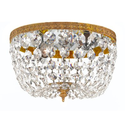 Milan 2-Light Flush Mount Finish: Olde Brass, Crystal Grade: Swarovski Strass