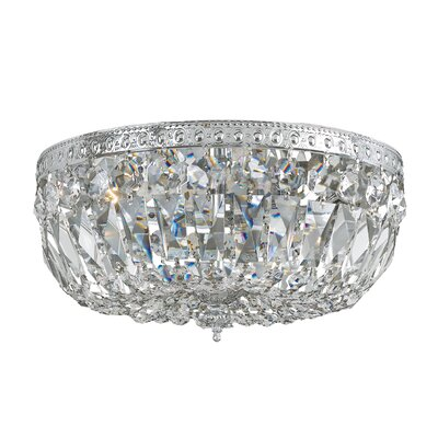 Milan 2-Light Flush Mount Finish: Chrome, Crystal Grade: Majestic Wood Polished