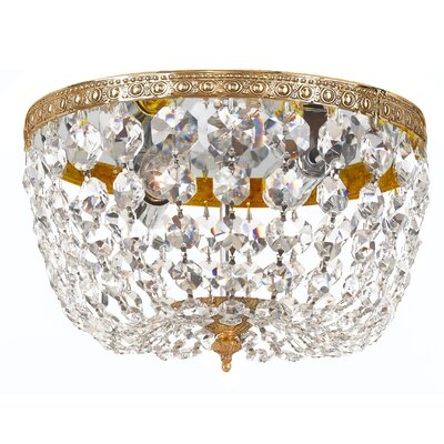 Milan 2-Light Flush Mount Crystal Grade: Majestic Wood Polished, Finish: Olde Brass
