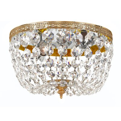 Milan 2-Light Flush Mount Crystal Grade: Swarovski Spectra, Finish: Olde Brass