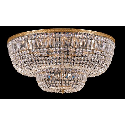 Milan 24-Light Flush Mount Crystal Grade: Majestic Wood Polished