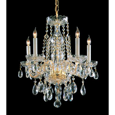 Milan 5-Light Crystal Chandelier Crystal Type: Majestic Wood Polished, Finish: Polished Brass