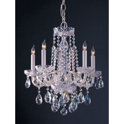 Milan 5-Light Crystal Chandelier Crystal Type: Majestic Wood Polished, Finish: Chrome