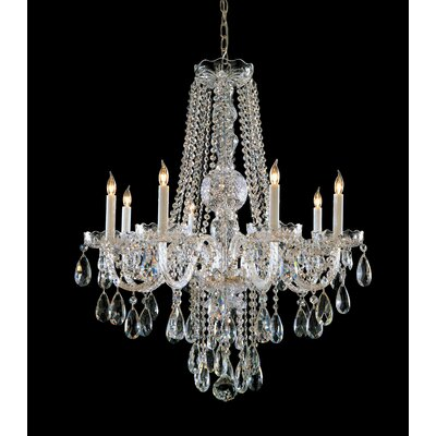 Milan 8-Light Crystal Chandelier Crystal Type: Majestic Wood Polished, Finish: Polished Brass