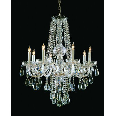 Milan 8-Light Crystal Chandelier Crystal Type: Swarovski Strass, Finish: Polished Brass