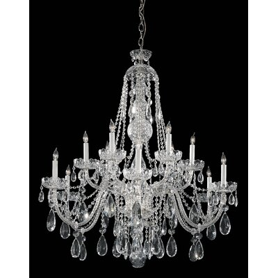 Milan 12-Light Crystal Chandelier Crystal Type: Majestic Wood Polished, Finish: Chrome