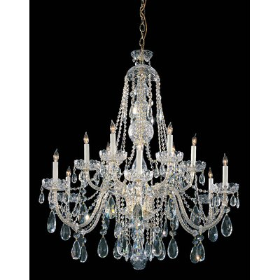 Milan 12-Light Crystal Chandelier Crystal Type: Majestic Wood Polished, Finish: Polished Brass