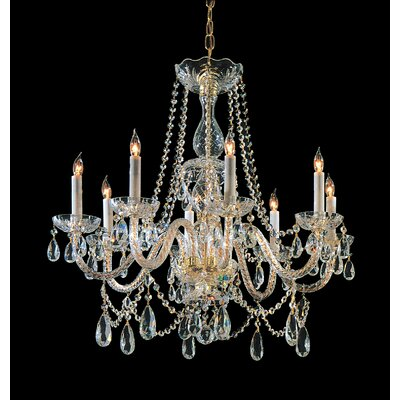 Milan 8-Light Crystal Chandelier Crystal Type: Swarovski Spectra, Finish: Polished Brass