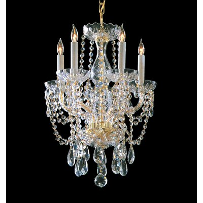Milan 5-Light Crystal Chandelier Finish: Polished Brass, Crystal Type: Majestic Wood Polished