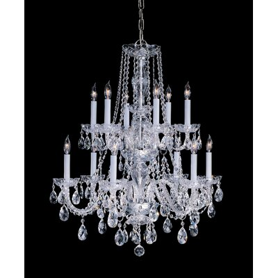 Milan 12-Light Crystal Chandelier Crystal Type/Finish: Majestic Wood Polished/Polished Brass
