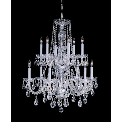 Milan 12-Light Crystal Chandelier Crystal Type/Finish: Swarovski Strass/Polished Brass