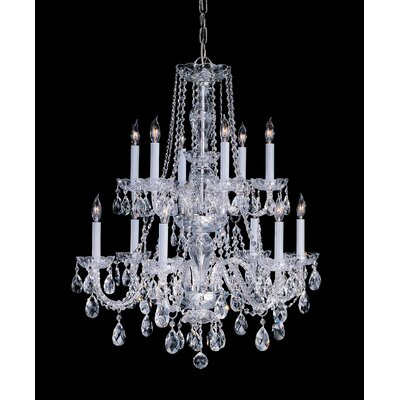 Milan 12-Light Crystal Chandelier Crystal Type/Finish: Swarovski Spectra/Polished Brass