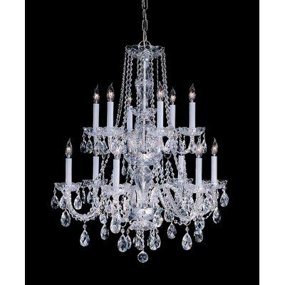 Milan 12-Light Crystal Chandelier Crystal Type/Finish: Swarovski Spectra/Polished Brass