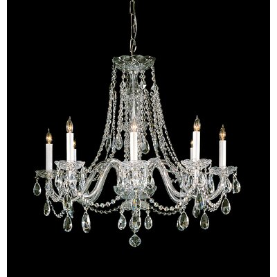 Milan 8-Light Crystal Chandelier Crystal Type/Finish: Swarovski Spectra/Polished Brass