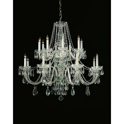 Milan 16-Light Crystal Chandelier Crystal Type: Majestic Wood Polished, Finish: Chrome