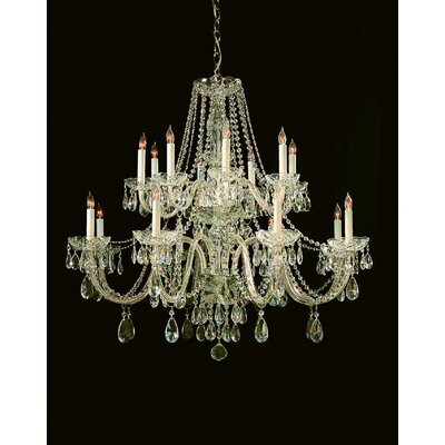 Milan 16-Light Crystal Chandelier Crystal Type: Swarovski Strass, Finish: Polished Brass