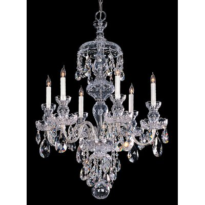 Milan 6-Light Crystal Chandelier Crystal Type: Majestic Wood Polished, Finish: Polished Brass