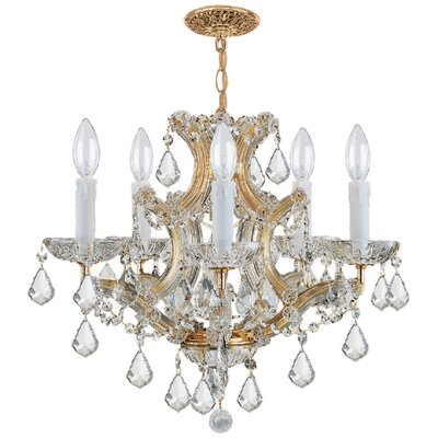 Caledonian 6-Light Crystal Chandelier Crystal Type: Mjestic Wood Polish, Finish: Gold