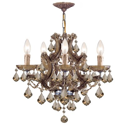 Caledonian 6-Light Crystal Chandelier Crystal Type: Golden Teak Strass, Finish: Aged Brass