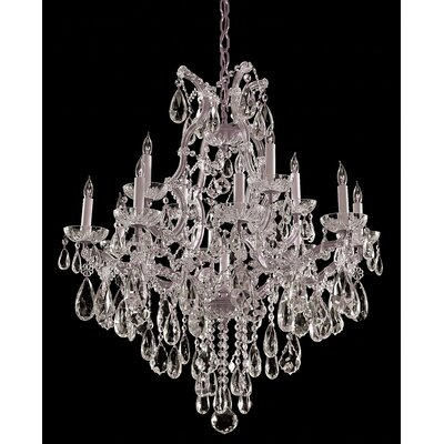 Griffiths 13-Light Crystal Chandelier Crystal Type/Finish: Majestic Wood Polished/Chrome