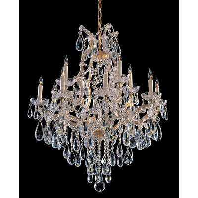 Griffiths 13-Light Crystal Chandelier Crystal Type/Finish: Majestic Wood Polished/Gold