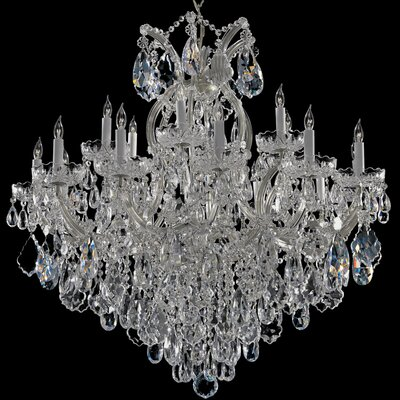 Milan 19-Light Crystal Chandelier Crystal Type: Majestic Wood Polished, Finish: Chrome
