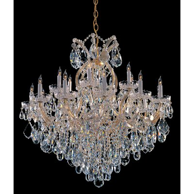 Milan 19-Light Crystal Chandelier Crystal Type: Majestic Wood Polished, Finish: Gold