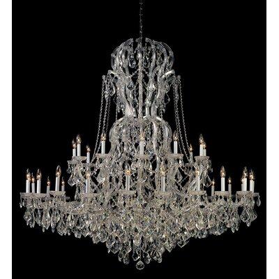 Milan 37-Light Crystal Chandelier Finish: Chrome, Crystal Type: Majestic Wood Polished