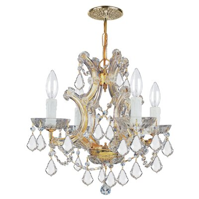 Milan 4-Light Crystal Chandelier Crystal Type/Finish: Swarovski Strass/Gold