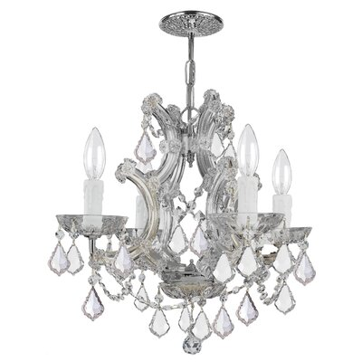 Milan 4-Light Crystal Chandelier Crystal Type/Finish: Swarovski Spectra/Chrome